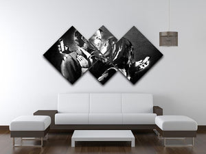 Banksy Mobile Lovers 4 Square Multi Panel Canvas - Canvas Art Rocks - 3