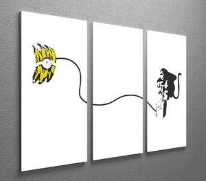 Banksy Monkey Banana Bomb 3 Split Panel Canvas Print - Canvas Art Rocks