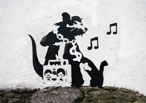 Banksy Music Rat Wall Mural Wallpaper - Canvas Art Rocks - 1