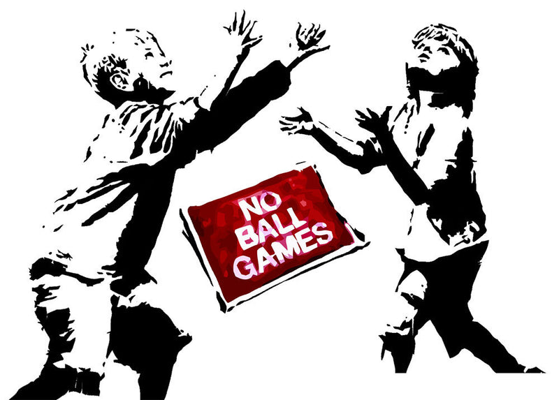 Banksy No Ball Games Wall Decal - US Canvas Art Rocks
