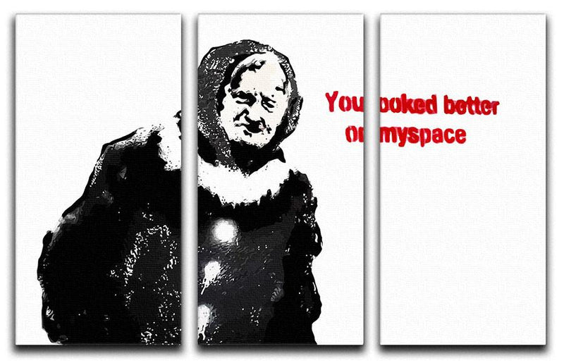 Banksy Old Woman MySpace 3 Split Panel Canvas Print - US Canvas Art Rocks