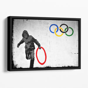 Banksy Olympic Rings Looter Floating Framed Canvas