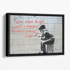Banksy One Original Thought Floating Framed Canvas