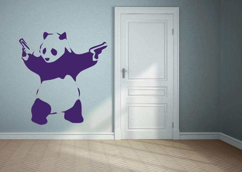 Banksy Panda Wall Decal Canvas Art Rocks - Can you put vinyl wall decals on canvas