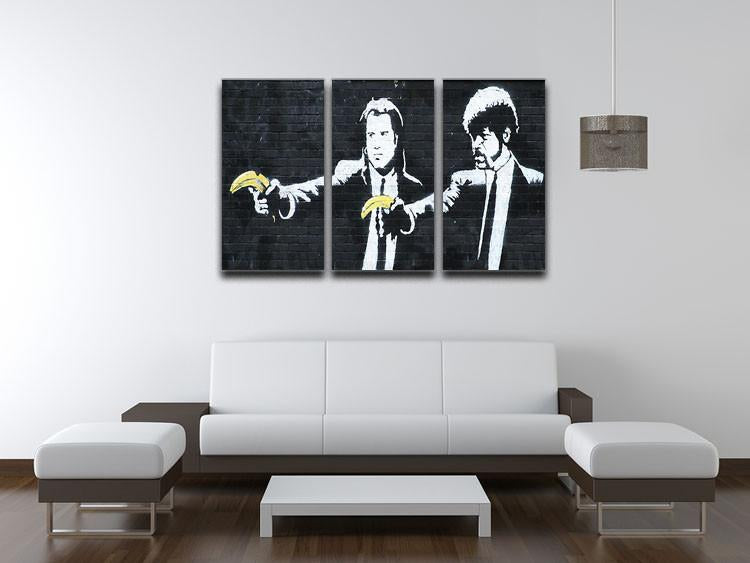 Banksy Pulp Fiction Banana Guns 3 Split Canvas Print - US Canvas Art Rocks