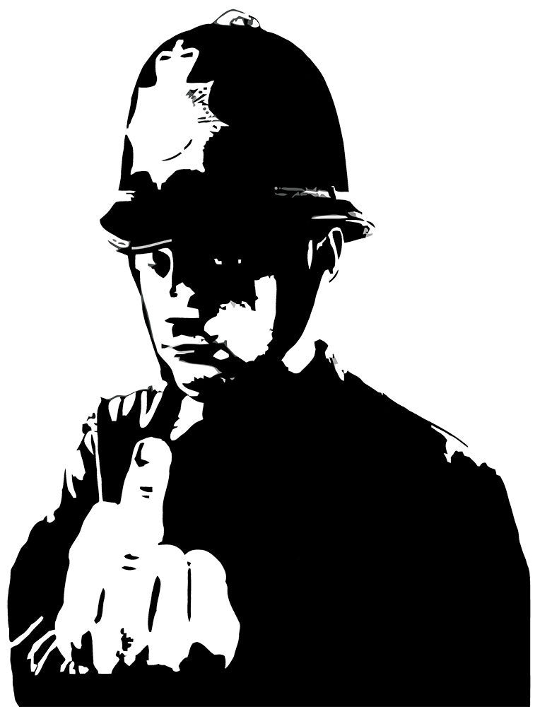 Banksy Rude Policeman Wall Decal - US Canvas Art Rocks