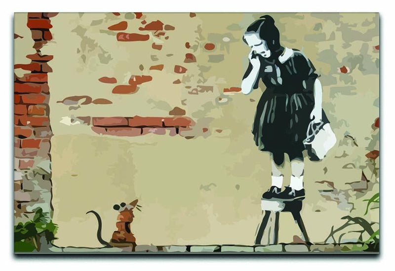 Banksy School Girl Mouse Canvas Print or Poster  - Canvas Art Rocks - 1