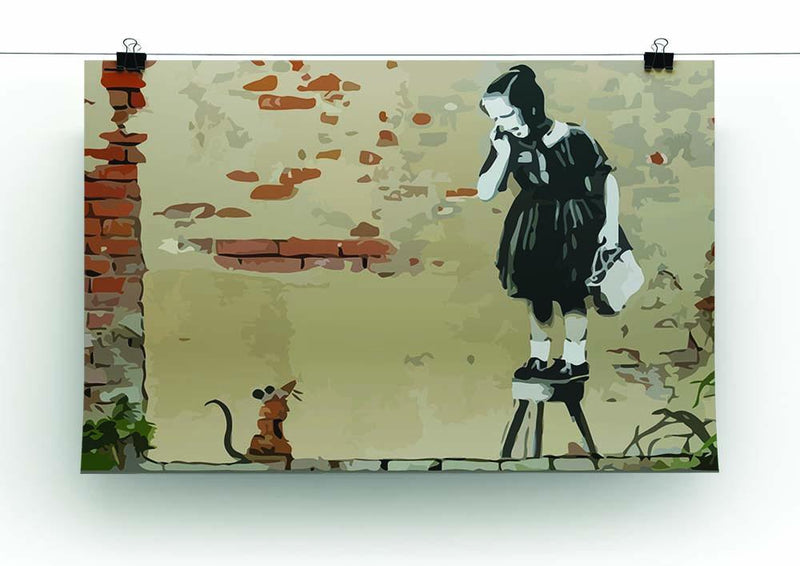 Banksy School Girl Mouse Canvas Print or Poster - Canvas Art Rocks - 2