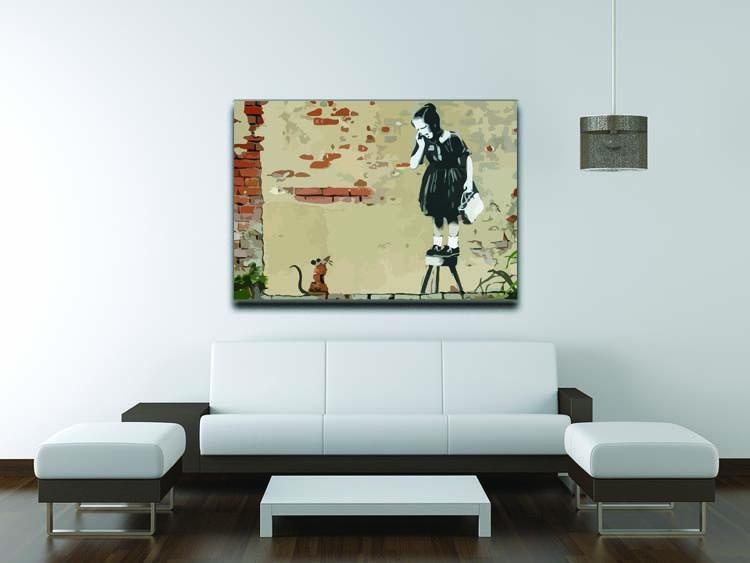 Banksy School Girl Mouse Canvas Print or Poster - Canvas Art Rocks - 4
