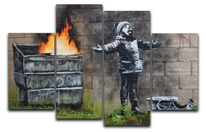 Banksy Seasons Greeting 4 Split Panel Canvas  - Canvas Art Rocks - 1