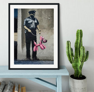 Banksy Security Guard With Pink Balloon Dog Framed Print - Canvas Art Rocks - 1