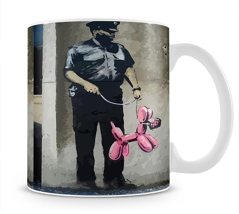 Banksy Security Guard With Pink Balloon Dog Cup - Canvas Art Rocks - 4