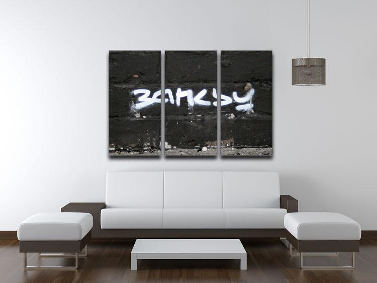 Banksy Signature Tag 3 Split Panel Canvas Print - US Canvas Art Rocks
