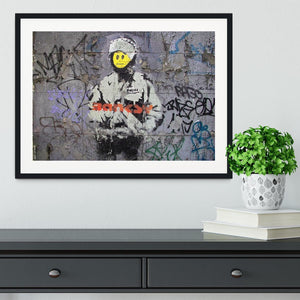 Banksy Smiley Riot Cop Framed Print - Canvas Art Rocks - 1