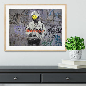 Banksy Smiley Riot Cop Framed Print - Canvas Art Rocks - 3