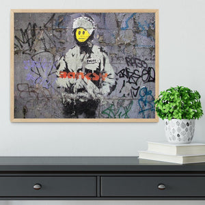 Banksy Smiley Riot Cop Framed Print - Canvas Art Rocks - 4