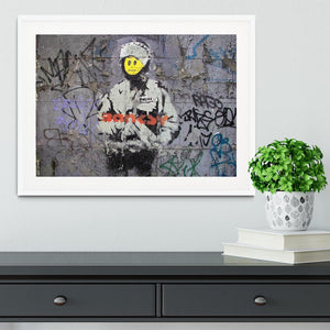 Banksy Smiley Riot Cop Framed Print - Canvas Art Rocks - 5