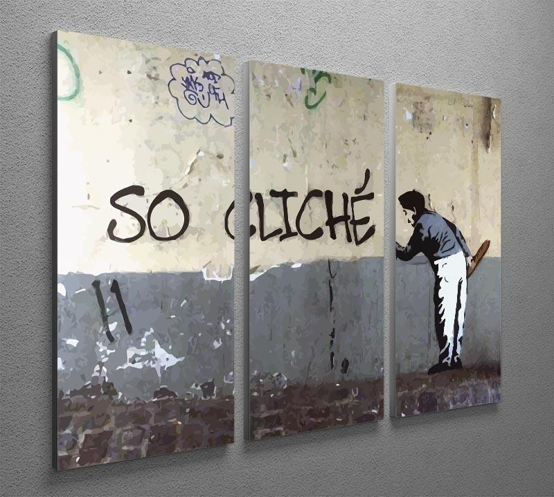 Banksy So Cliche 3 Split Panel Canvas Print - Canvas Art Rocks - 2