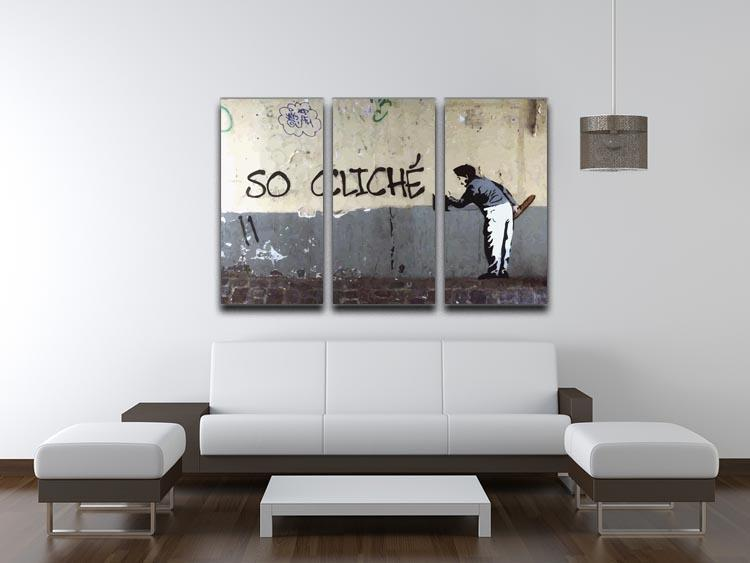 Banksy So Cliche 3 Split Panel Canvas Print - Canvas Art Rocks - 3