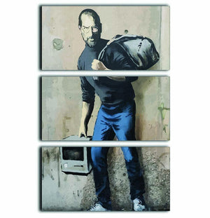 Banksy Steve Jobs 3 Split Panel Canvas Print - Canvas Art Rocks - 1