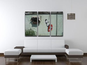 Banksy Swing Boy 3 Split Panel Canvas Print - Canvas Art Rocks