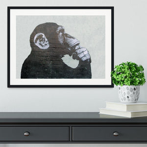 Banksy The Thinker Monkey Framed Print - Canvas Art Rocks - 1