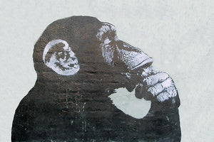 Banksy The Thinker Monkey Wall Mural Wallpaper - Canvas Art Rocks - 1