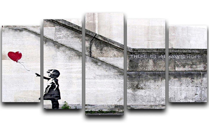 Banksy There is Always Hope 5 Split Panel Canvas