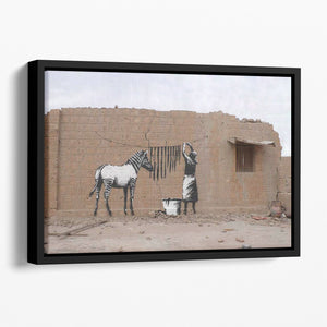 Banksy Washing Zebra Stripes Floating Framed Canvas