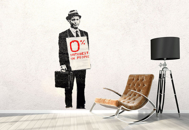 Banksy Zero Percent Interest Wall Decal - Canvas Art Rocks