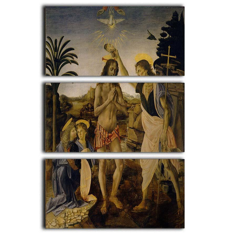 Baptism Of Christ by Da Vinci 3 Split Panel Canvas Print - Canvas Art Rocks - 1