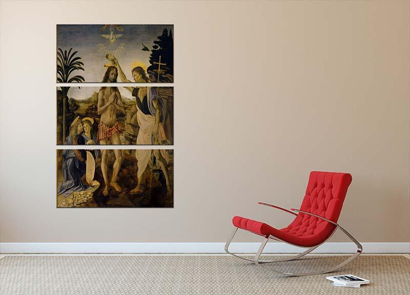 Baptism Of Christ by Da Vinci 3 Split Panel Canvas Print - Canvas Art Rocks - 2