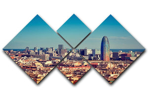 Barcelona skyline with skyscrapers 4 Square Multi Panel Canvas  - Canvas Art Rocks - 1