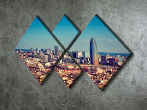 Barcelona skyline with skyscrapers 4 Square Multi Panel Canvas  - Canvas Art Rocks - 2