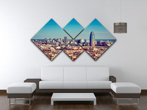 Barcelona skyline with skyscrapers 4 Square Multi Panel Canvas  - Canvas Art Rocks - 3
