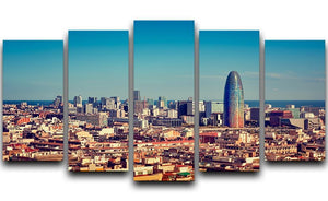 Barcelona skyline with skyscrapers 5 Split Panel Canvas  - Canvas Art Rocks - 1