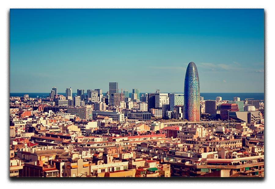 barcelona skyline with skyscrapers canvas print or poster canvas art rocks canvas art rocks