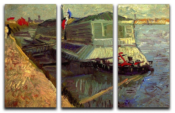 Bathing Float on the Seine at Asniere by Van Gogh 3 Split Panel Canvas Print
