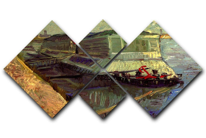 Bathing Float on the Seine at Asniere by Van Gogh 4 Square Multi Panel Canvas