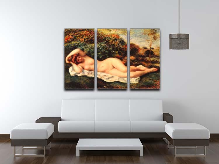 Bathing sleeping the baker by Renoir 3 Split Panel Canvas Print - Canvas Art Rocks - 3