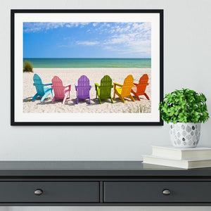 Beach Chairs on a Sun Beach Framed Print - Canvas Art Rocks - 1