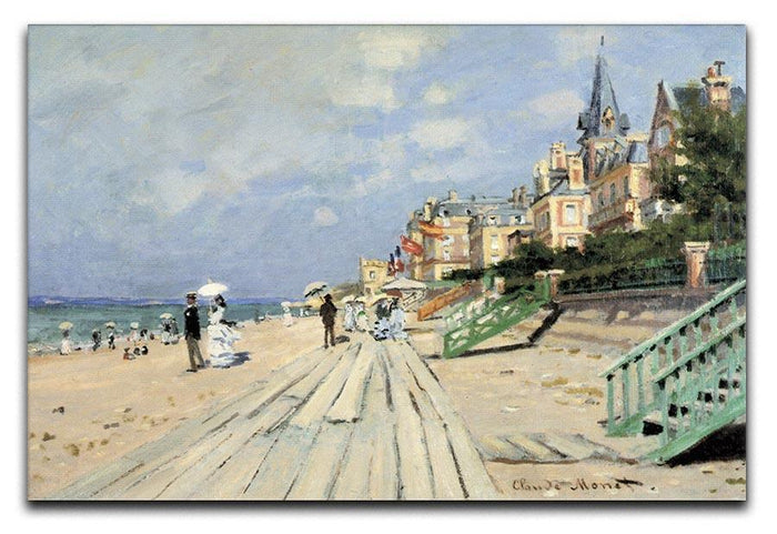 Beach at trouville by Monet Canvas Print or Poster