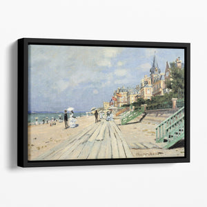Beach at trouville by Monet Floating Framed Canvas