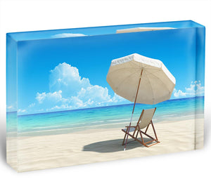 Beach chair and umbrella on idyllic tropical sand beach Acrylic Block - Canvas Art Rocks - 1