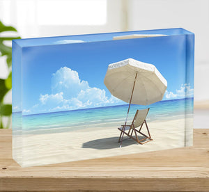 Beach chair and umbrella on idyllic tropical sand beach Acrylic Block - Canvas Art Rocks - 2
