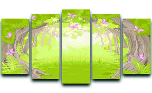 Beautiful Glade in the Magic forest 5 Split Panel Canvas  - Canvas Art Rocks - 1