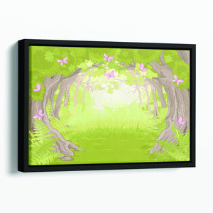Beautiful Glade in the Magic forest Floating Framed Canvas