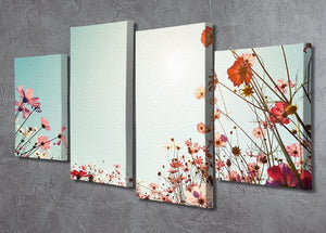 Beautiful cosmos flower field 4 Split Panel Canvas  - Canvas Art Rocks - 2