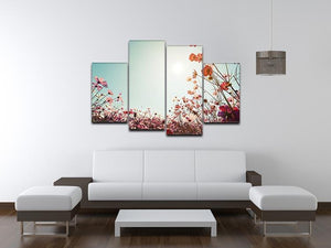 Beautiful cosmos flower field 4 Split Panel Canvas  - Canvas Art Rocks - 3