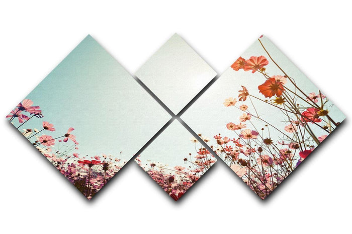 Beautiful cosmos flower field 4 Square Multi Panel Canvas
